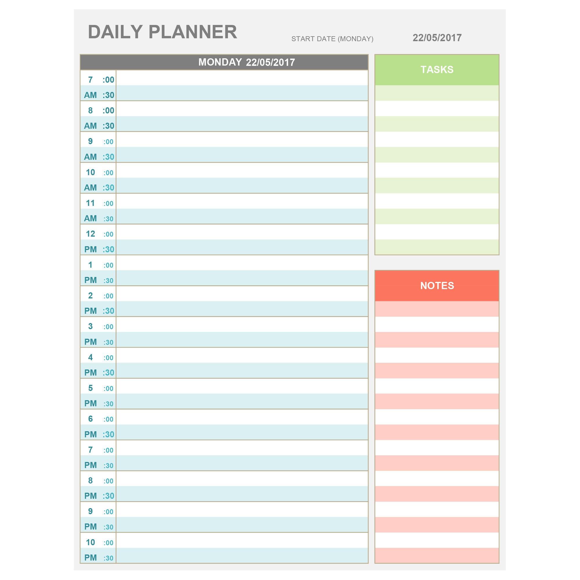 hourly schedule