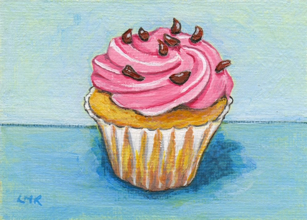 Original Acrylic ACEO, Strawberry Dream with Chocolate Flakes, Cupcake Art