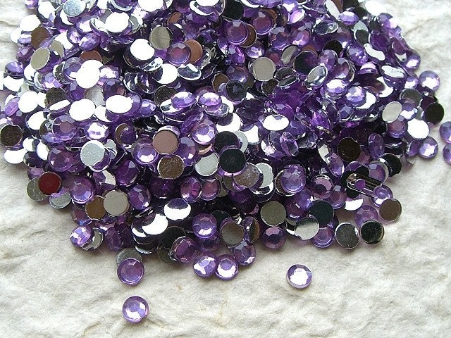 Faceted Round Acrylic Rhinestones 4mm 1500 Lavender