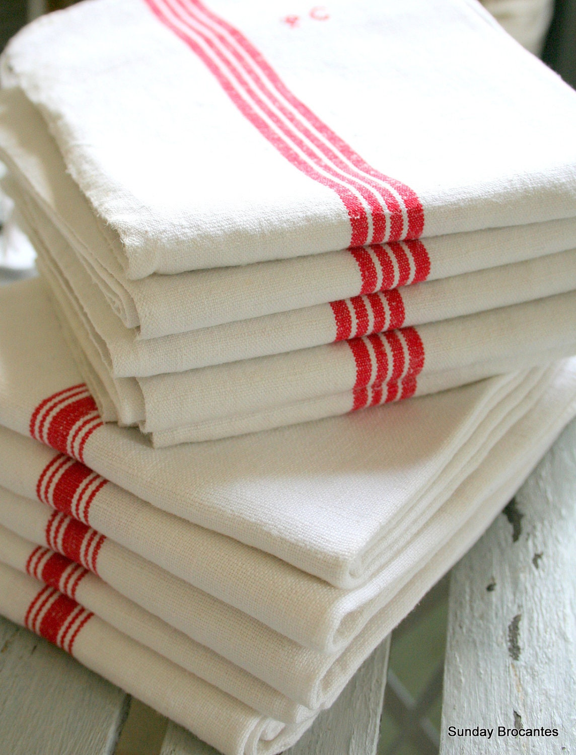 Soft White French Linen Torchons - SundayBrocantes