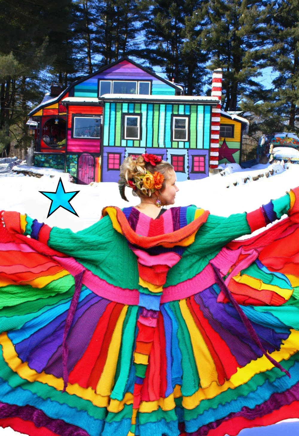 Elf Coat by Katwise - RESERVED for Shannon - Rainbow Magic Carousel Dream coat made from Recycled Sweaters - Upcycled Pixie Couture to keep you cozy in the winter snow and ice