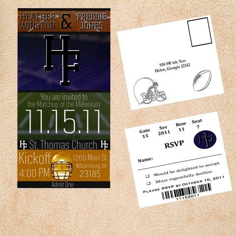 Items Similar To College Football Ticket Style Wedding Invitations On Etsy