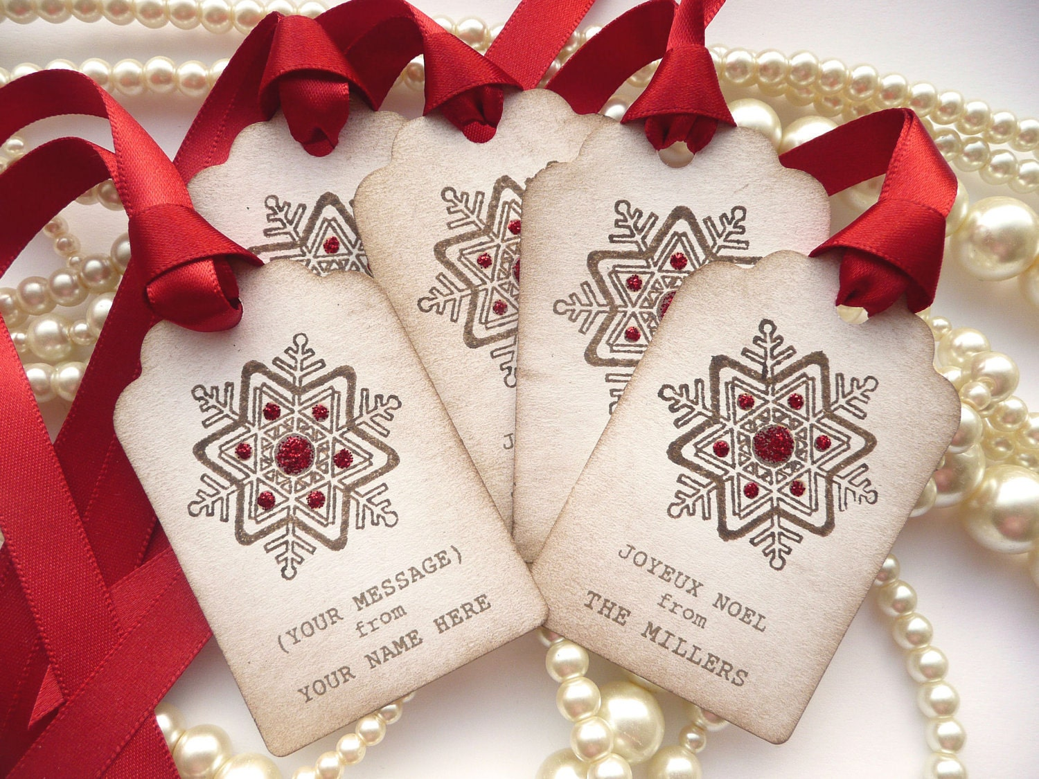 Custom Christmas Holiday Tags - Personalised with your family name - Vintage Style Set of 20 - Snowflakes and Glitter - Bright Red Ribbon - amaretto