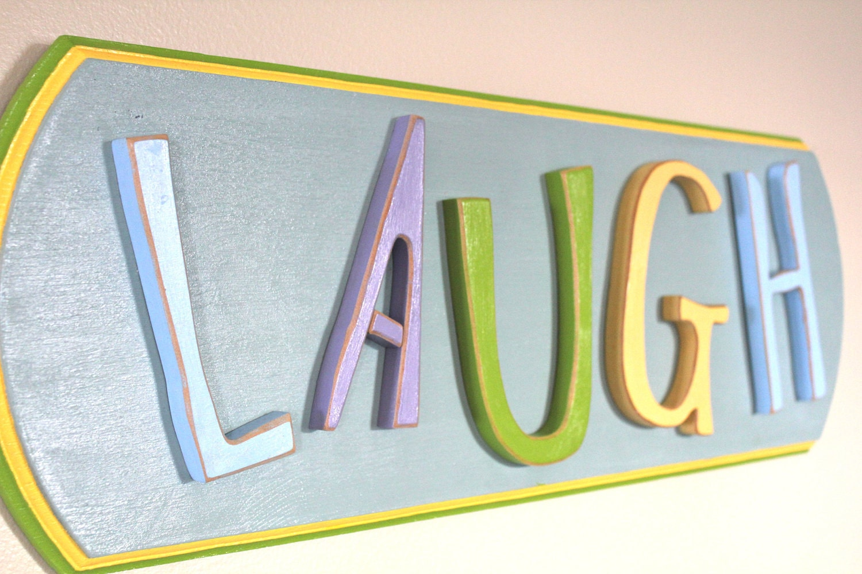 Bright Wood Letter 3D Sign LAUGH