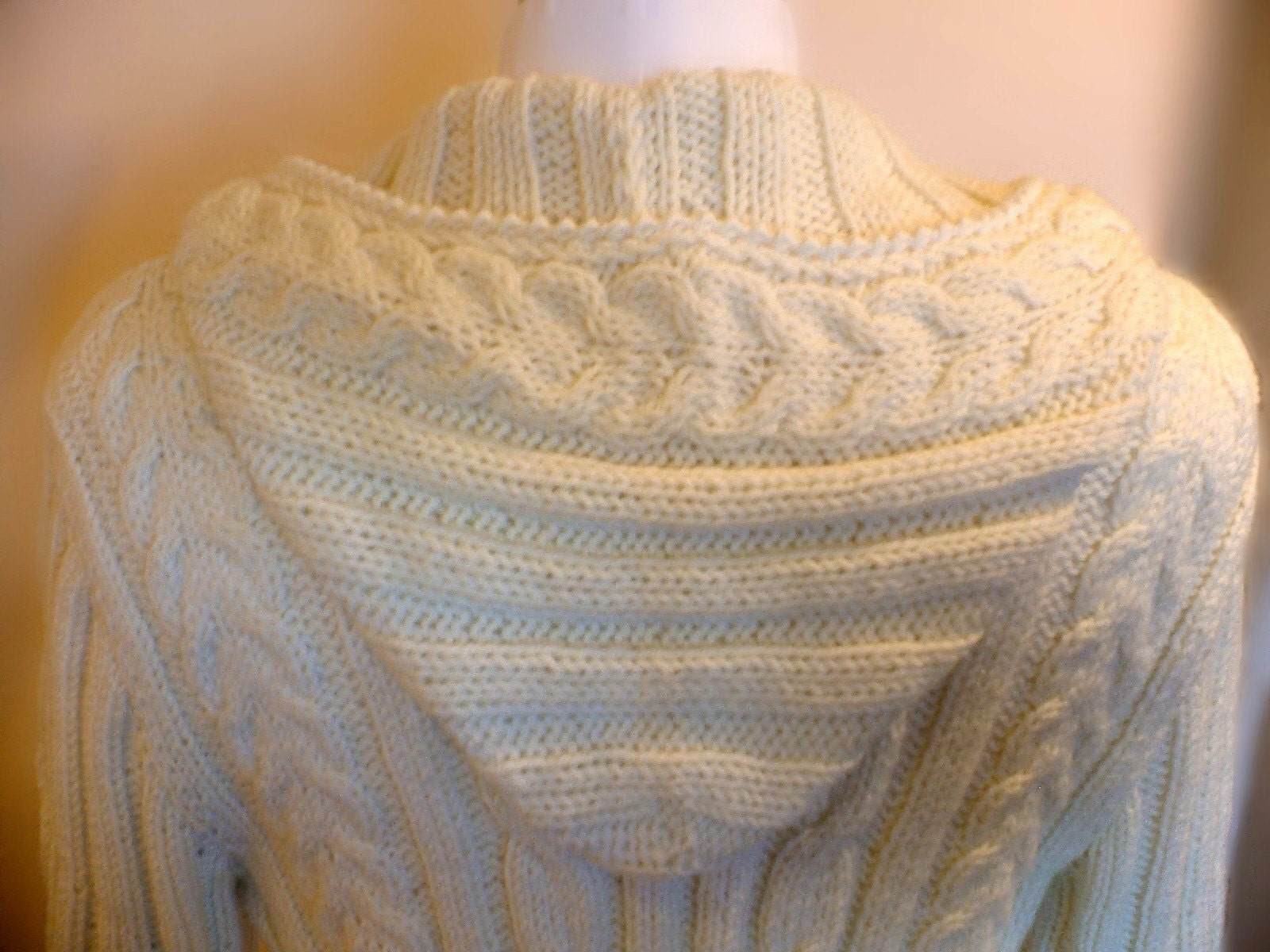 Hood and Zipper Cardigan-Natural-White-Handknit by Pilland