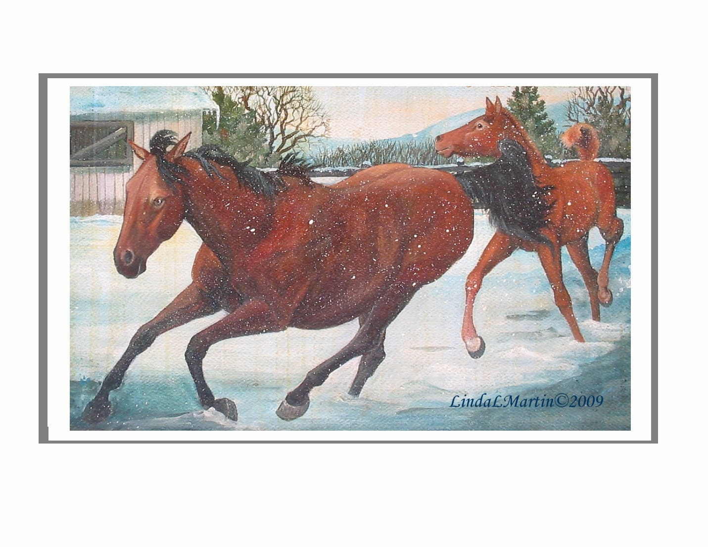First Friday Art Walk .... Print Snow Play Open Edition by LLMartin from Originial Painting