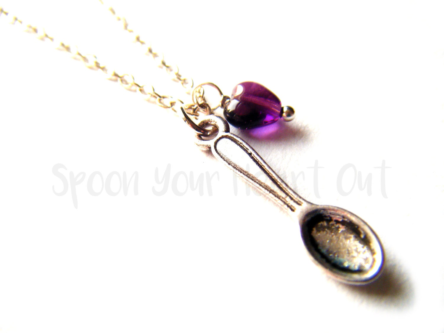 Spare Spoon Necklace  Spoon  Heart Purple Amethyst FibromyalgiaLupus ( more!) Awareness Necklace  Spoonie Necklace  Spoon Theory