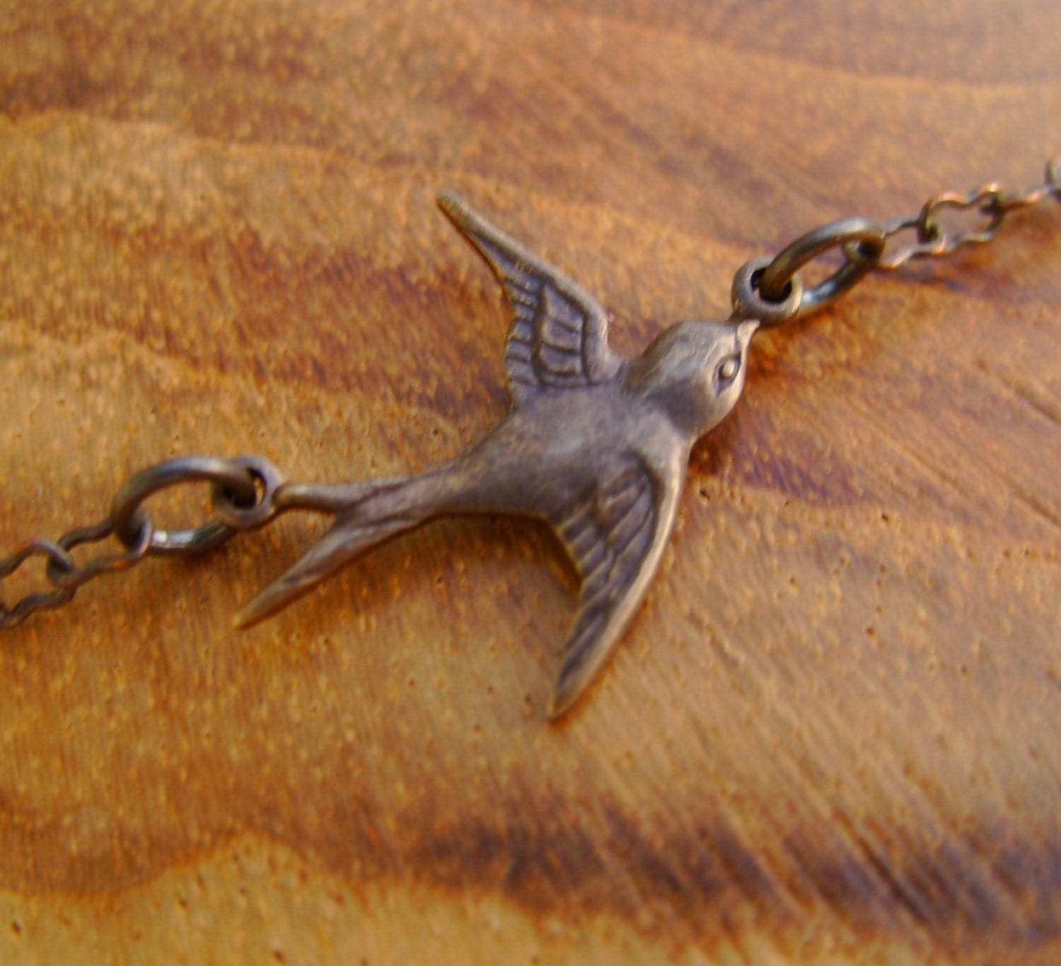 Flying Home Necklace- Vintaj Natural Brass Sparrow Bird on Dainty Vintaj Chain and Lobster Clasp