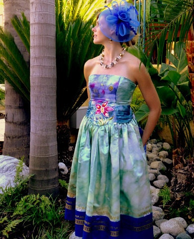 Custom made tropical wedding dress in blues and green hand painted