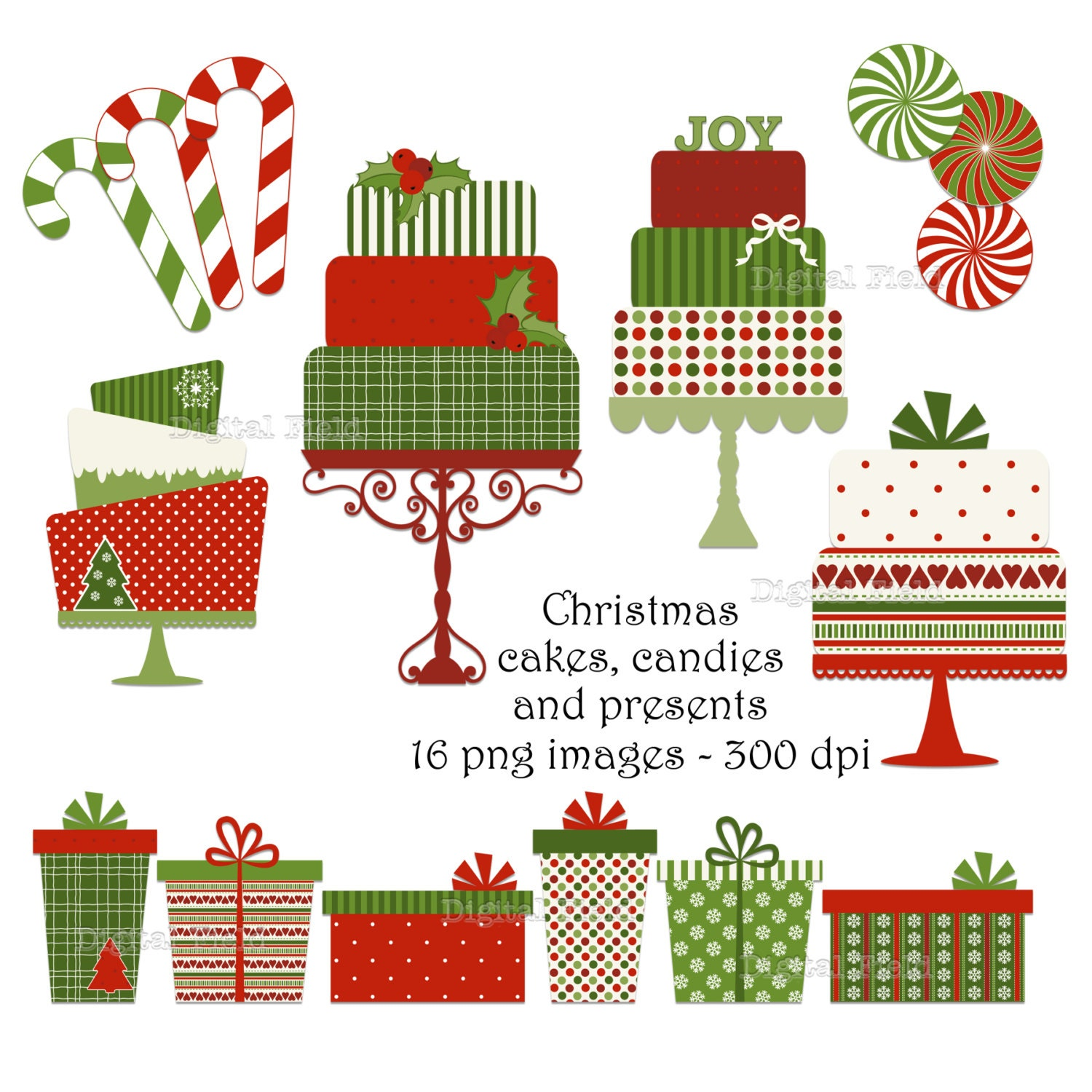 Christmas cake, candy and present clip art set - red green patterned holiday printable digital clipart - instant download - digitalfield