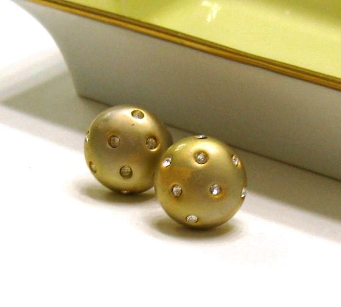 Vintage matte gold and zirconia studs  Dottie by cooljewelryJR from etsy.com