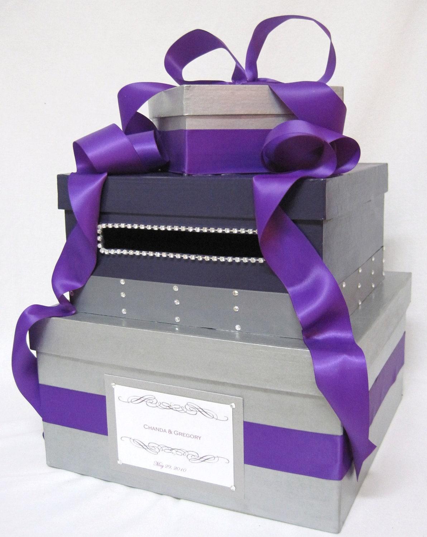 Purple Wedding Gift Card Box : Perfect Purple Bling Wedding Card Box, money holder, gift box, wishing ...