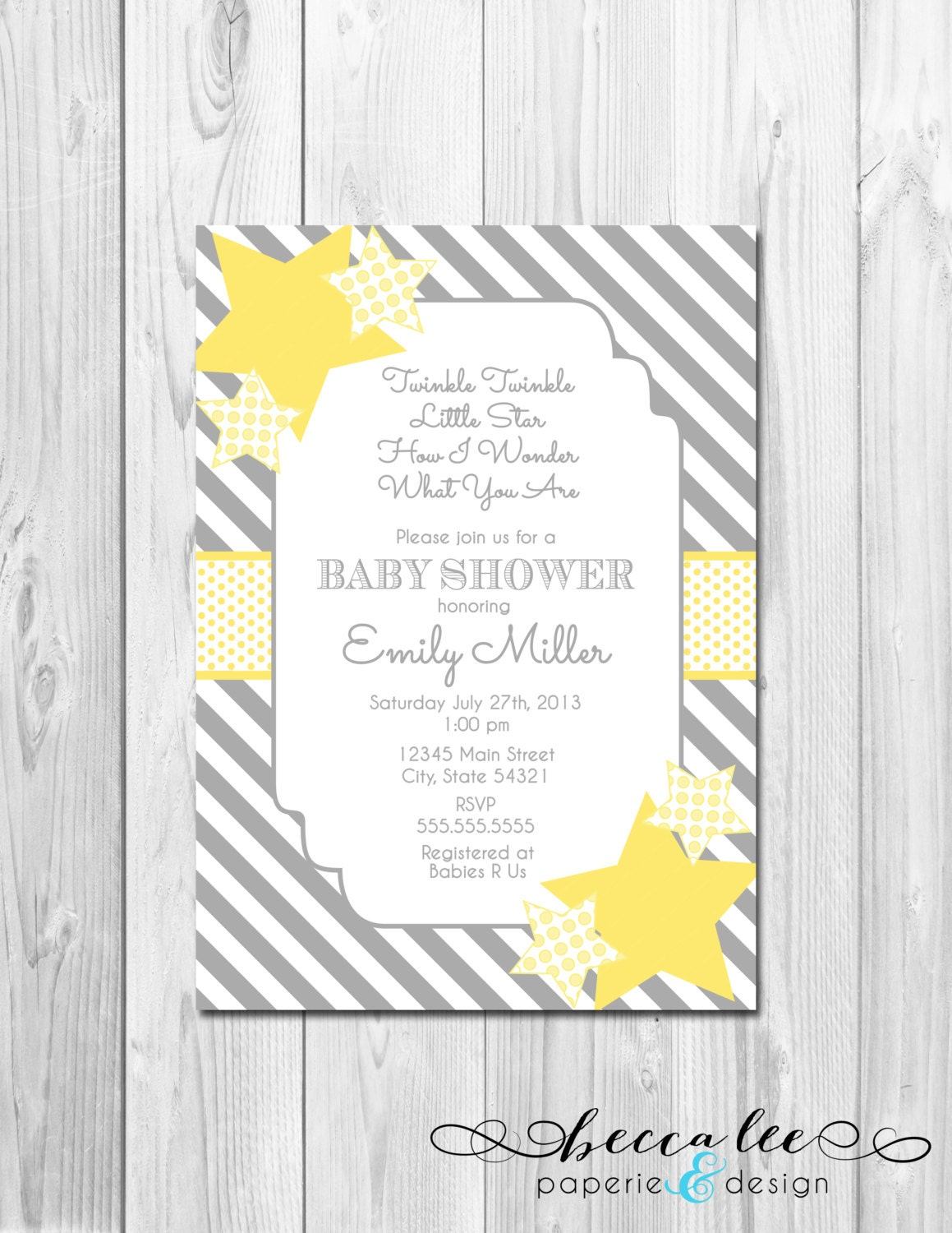 twinkle twinkle little star baby shower invitation grey and yellow