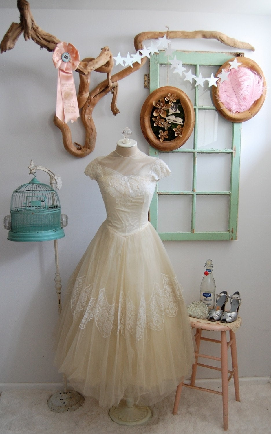 The Fleurette- Vintage 1950s Cahill Tulle and Lace Wedding Dress
