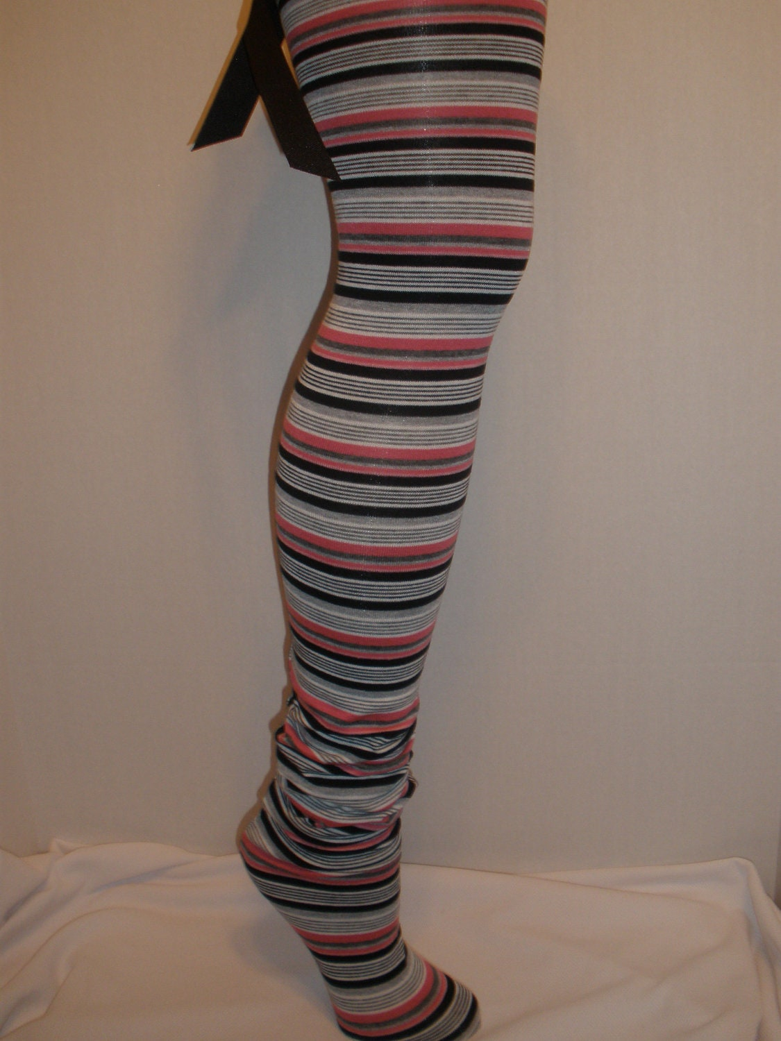 Womens, Girls, Long Cute Striped Stocking Socks, Thigh Highs, Leg Warmers, with Cute Bow on the Back