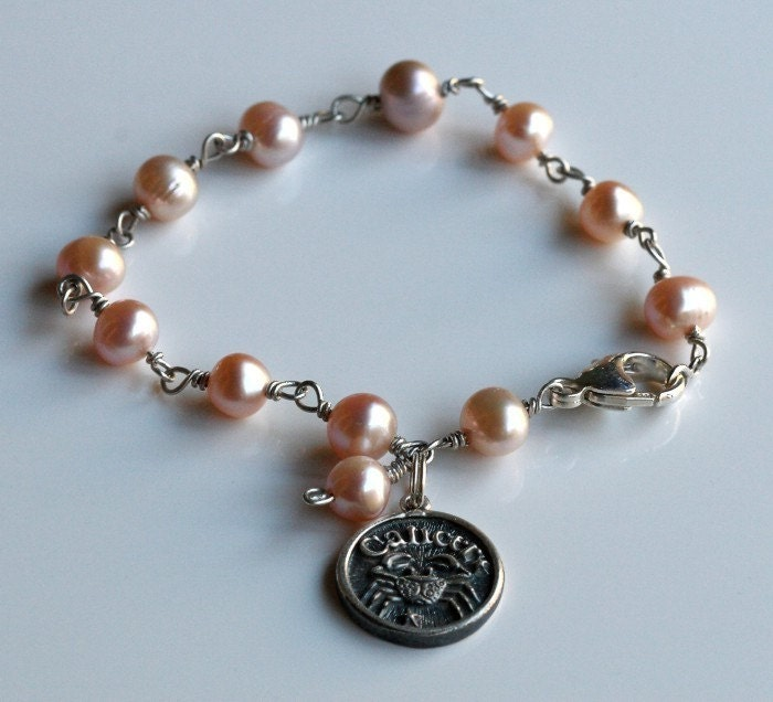 Sterling Silver Bracelet Pearls Zodiac Cancer by thewingthing from etsy.com