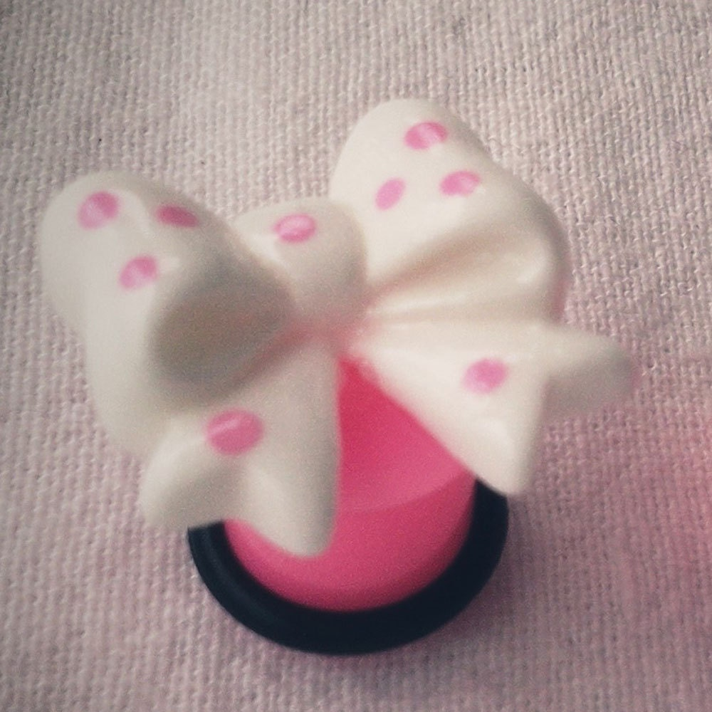 0g 8mm White Bow Plugs Gauges kawaii sweet Geek by Glamsquared