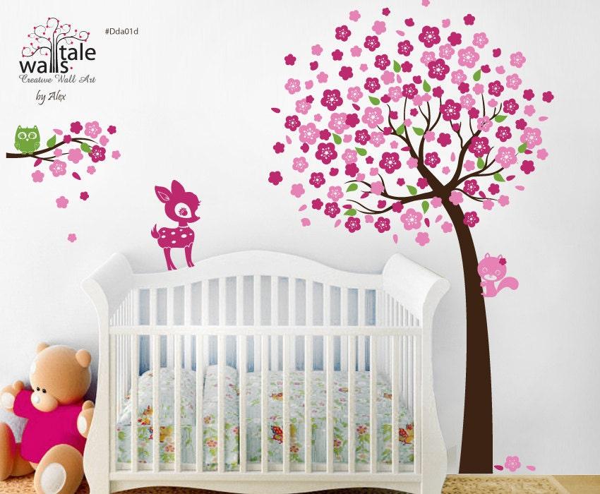 Items similar to cherry tree with owl fawn deer and - Decoracion para habitaciones de ninos ...