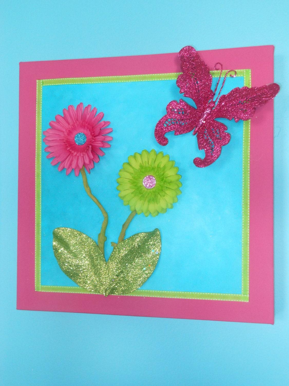 Girls Room Decor / 3D Glitter Handpainted Canvas by JumbledBrains