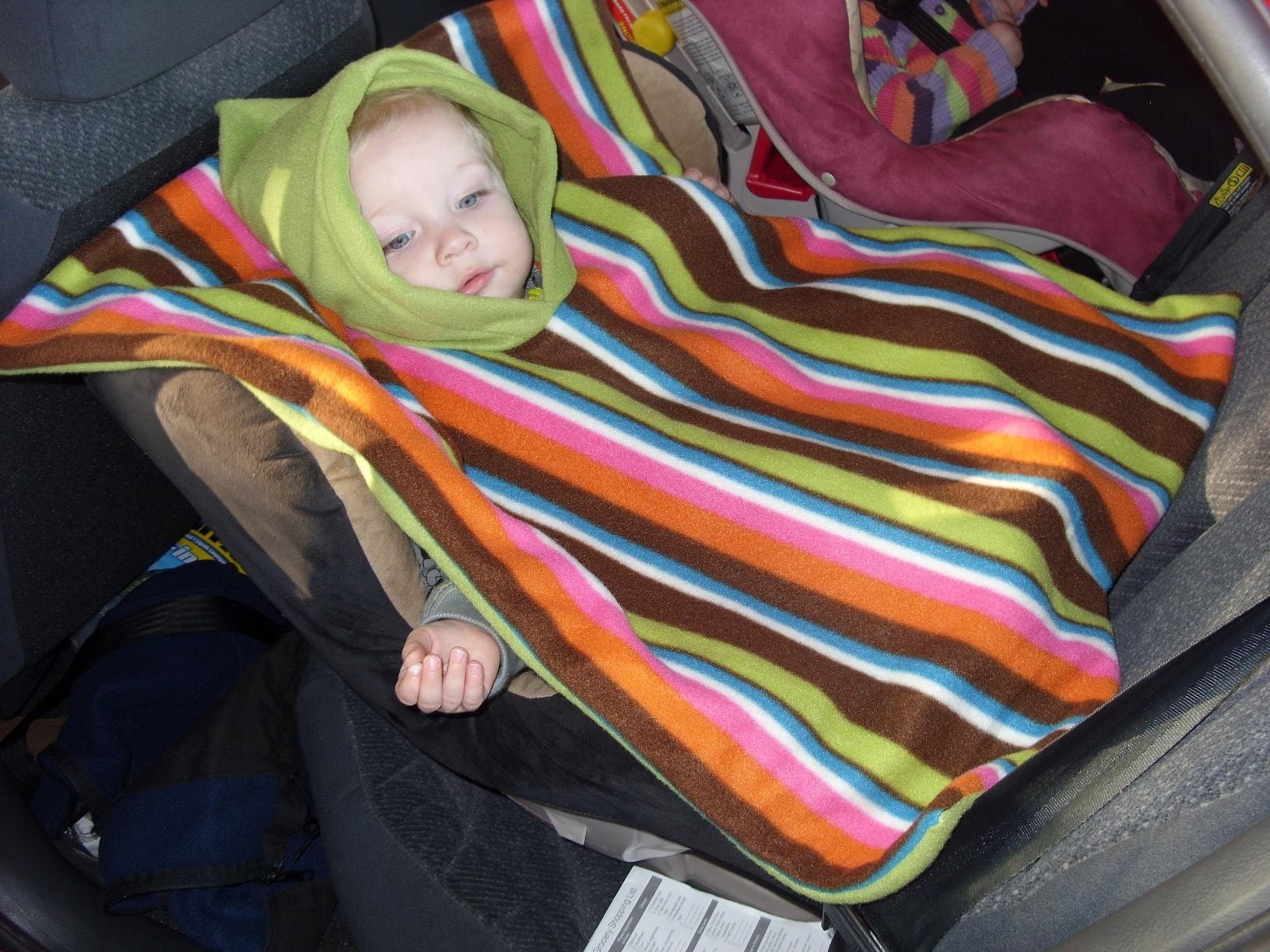 Seconds-Pink Stripey Car Seat Poncho
