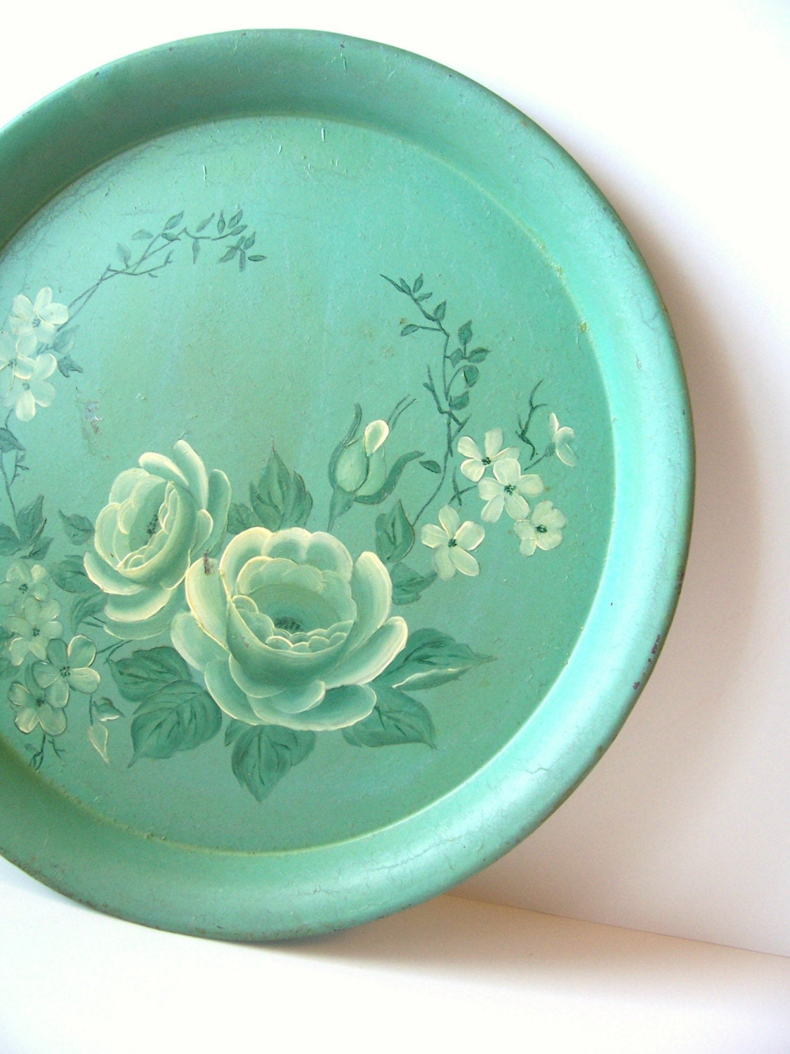Shabby Chic Mint Green Tole Floral Tray