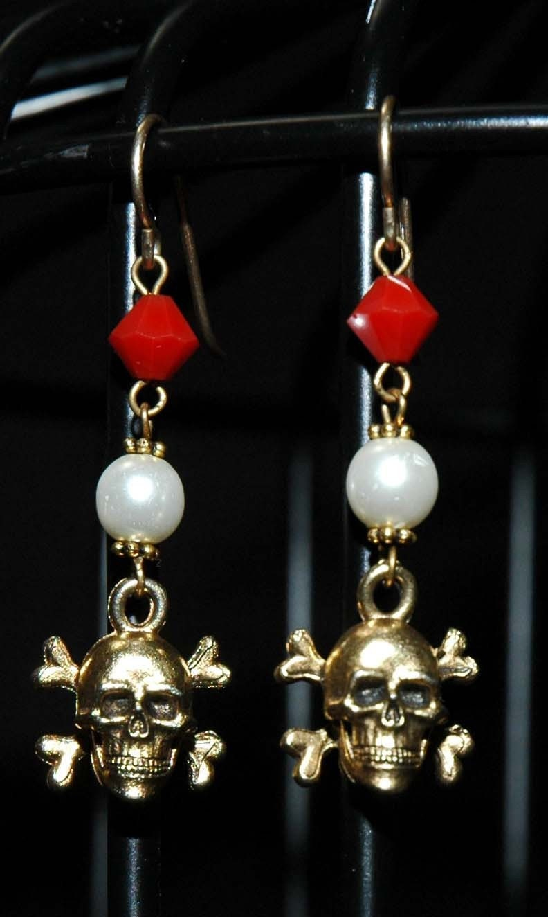 Crystal and Pearl Skull Earrings