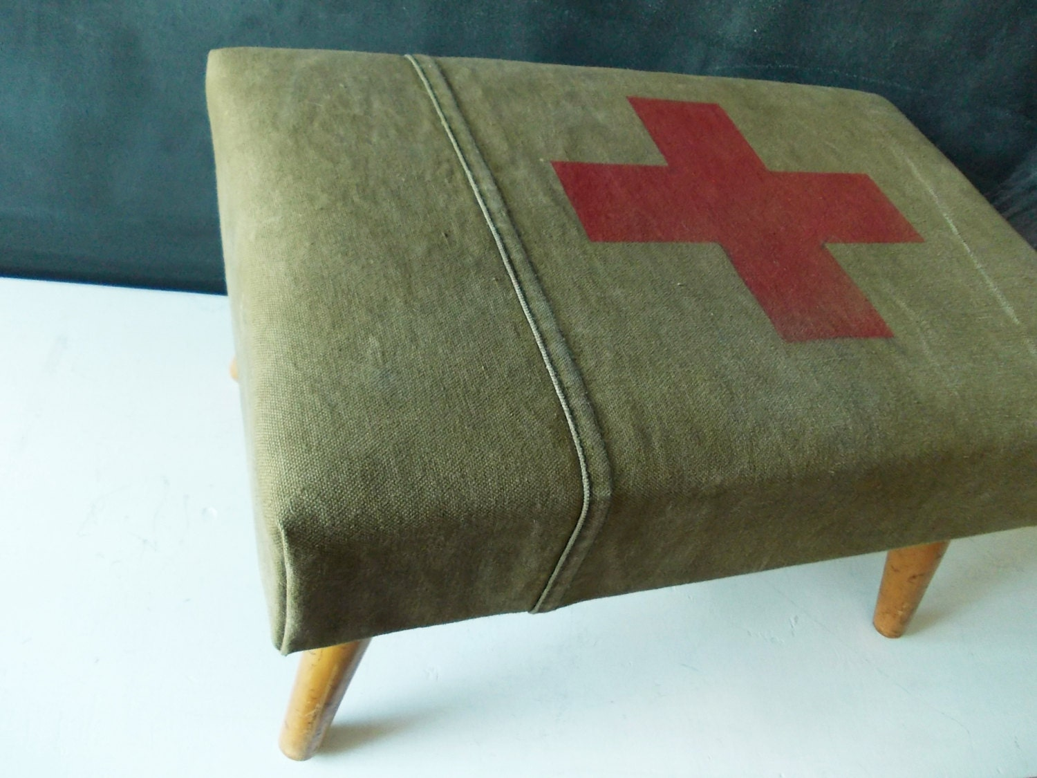 Upholstered Vintage Footstool : Red Cross on Army Green Canvas - HippopoVintage
