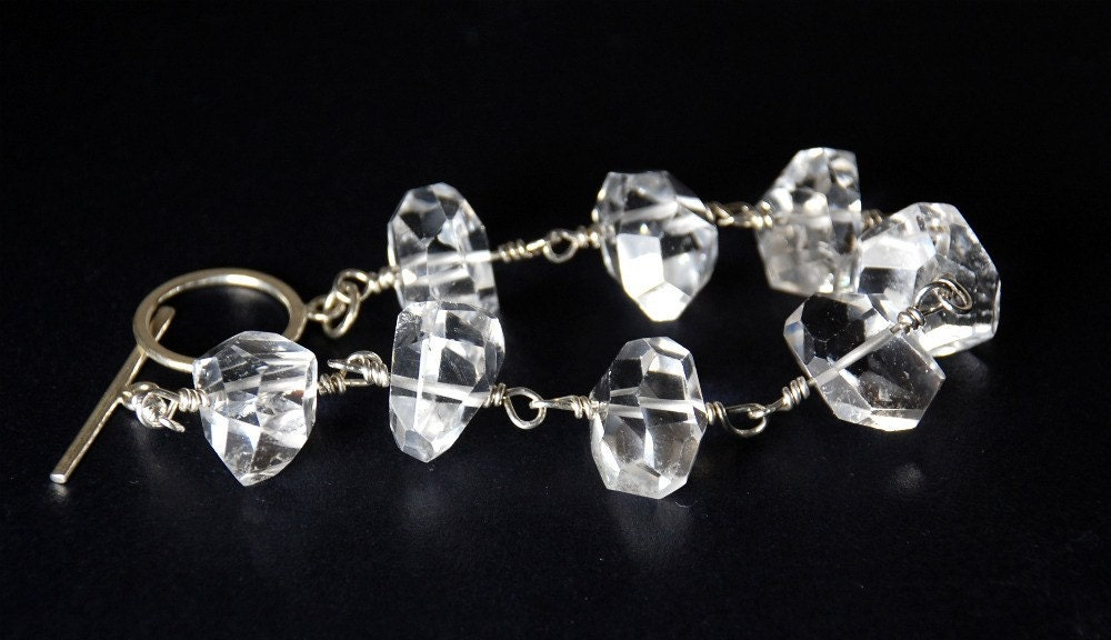 Natural Genuine Rock Crystal Quartz Bracelet by ELEVEN13 on Etsy from etsy.com