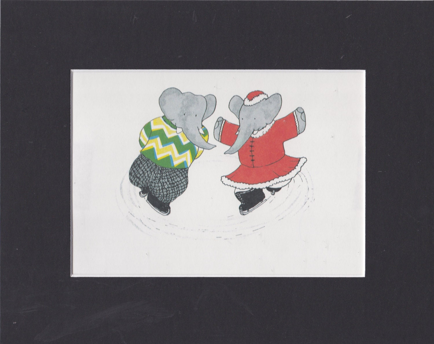 Babar the Elephant. Babar Celeste Skating. Vintage Authentic Print. Matted and Ready to Frame. Perfect for Nursery Decor. Jean de Brunhoff