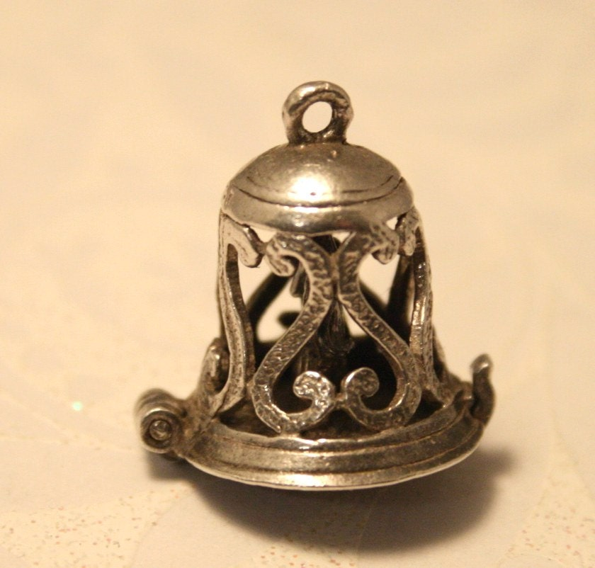 Vintage Silver Wedding Bell Charm Opens By Chicvintageboutique