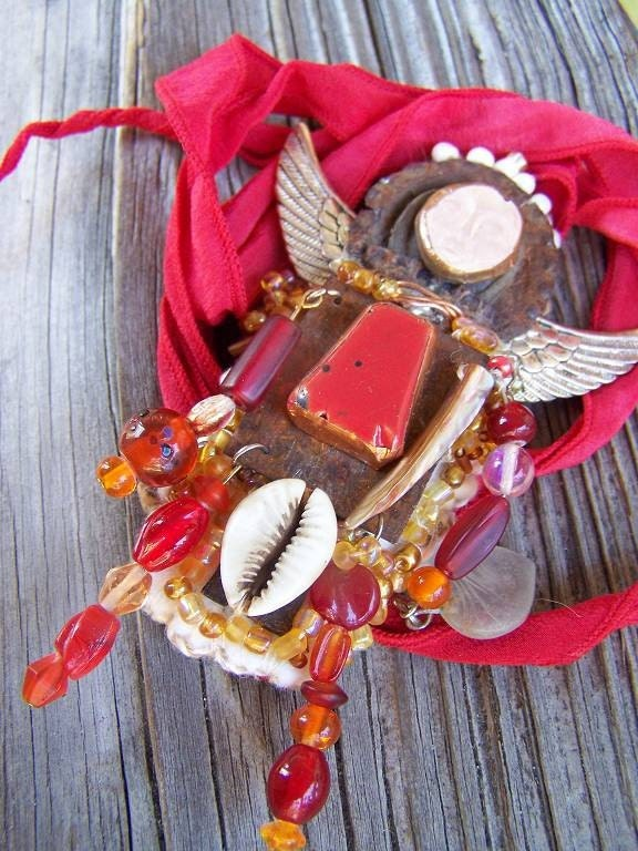 I Give My Heart Freely Assemblage Art Doll OOAK