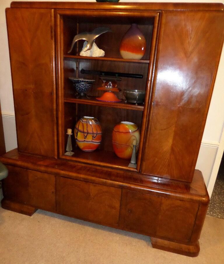 Art Deco sideboard bookcase wall unit two piece walnut veneers