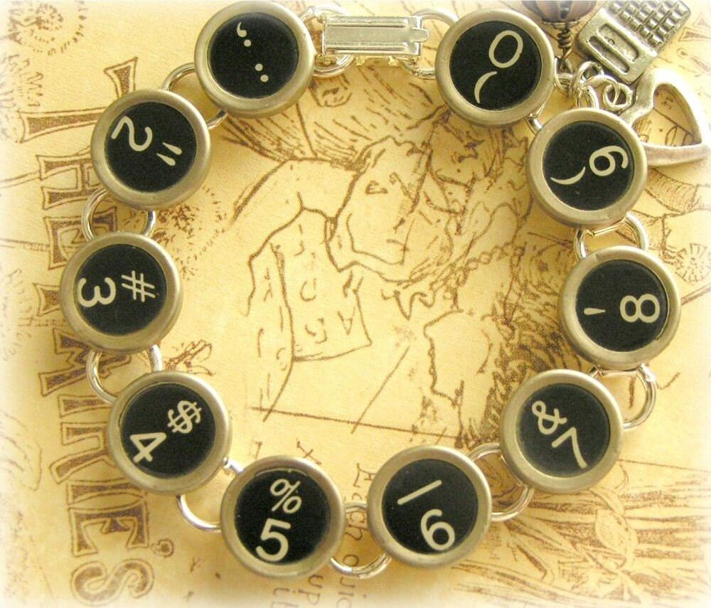 NUMBER CRUNCHER - Antique Typewriter Key Bracelet