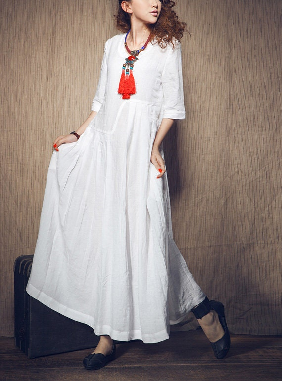 White Dress Wedding Maxi Linen Dress In Stock By Camelliatune