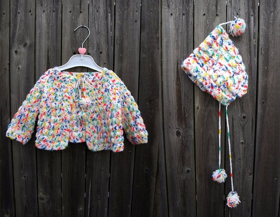 vintage 70s crochet speckled knit baby toddler CARDIGAN SWEATER and HAT cap 12 18 24 mo months white red green yellow blue - therobotparade