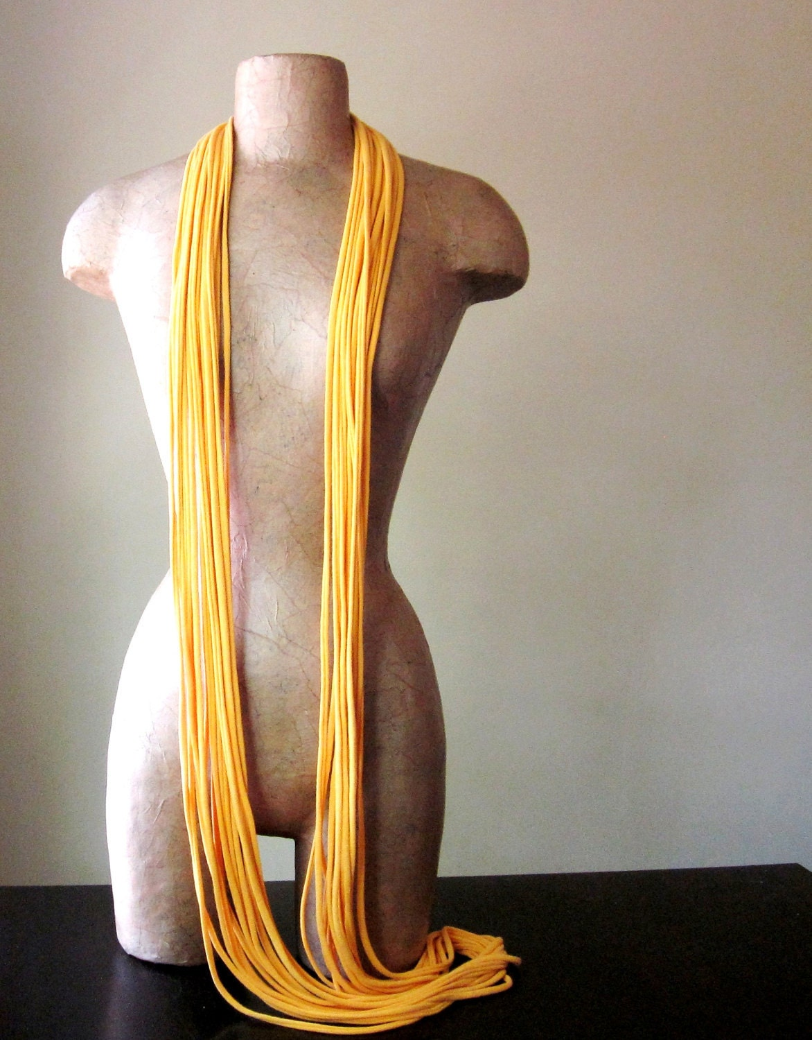 THE LONG SKINNY - super long cotton skinny scarf in golden rod