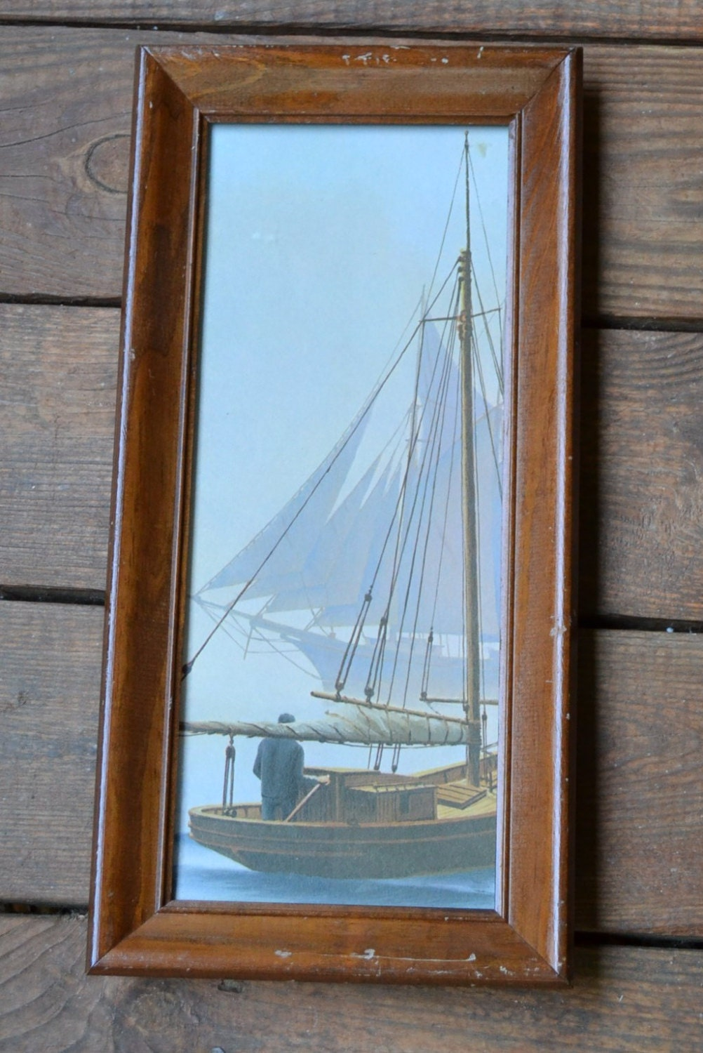 Vintage Framed Print Nautical Sailboat Vintage Art PanchosPorch - PanchosPorch