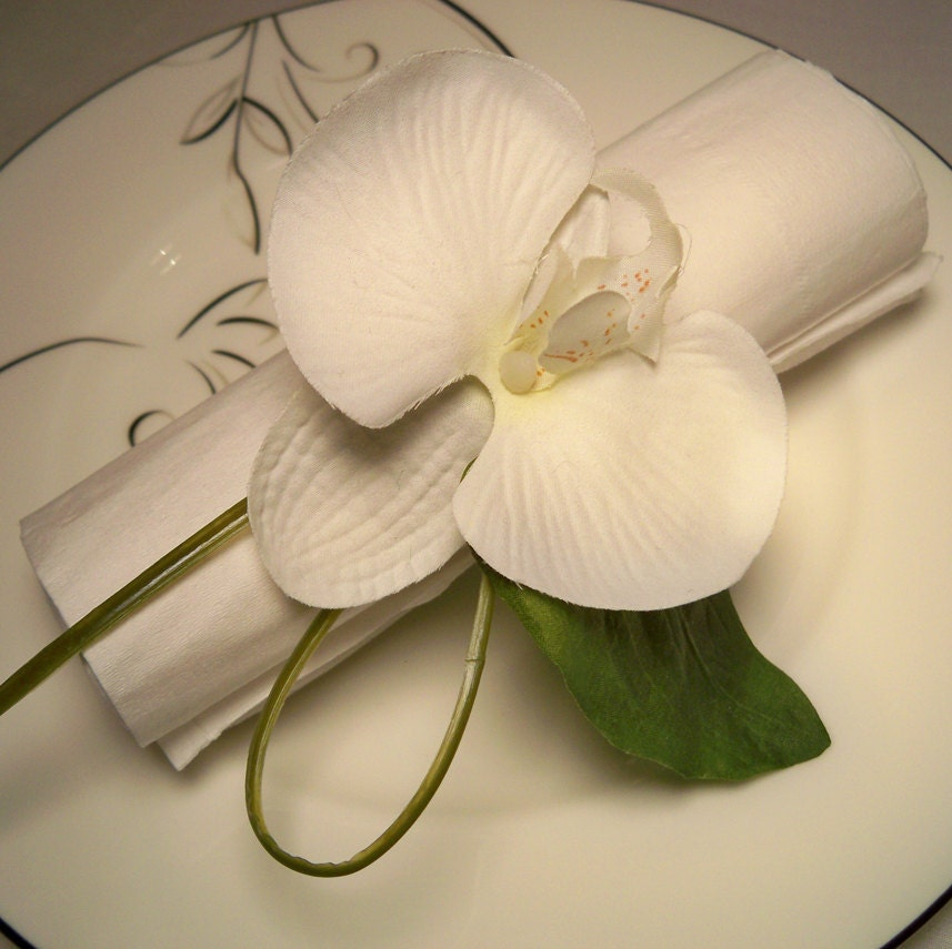 White Orchid Napkin Rings Wedding Reception Home By ItTopsTheCake