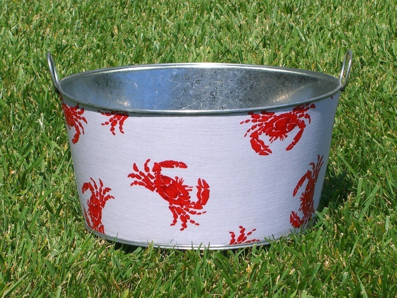 Cute Crab Large Round Galvanized Party Tub -  A Must Have for your next New England Crab Feed
