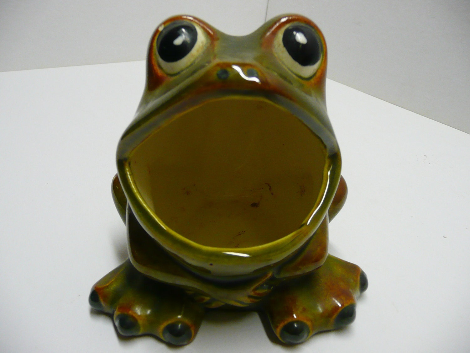 Green frog toad ceramic sink sponge holder 1973 by streetreasure - Frog sponge holder kitchen sink ...
