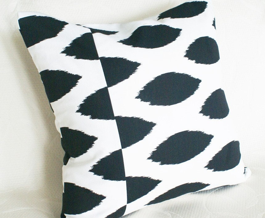 Ikat Black and White Decorative Pillows