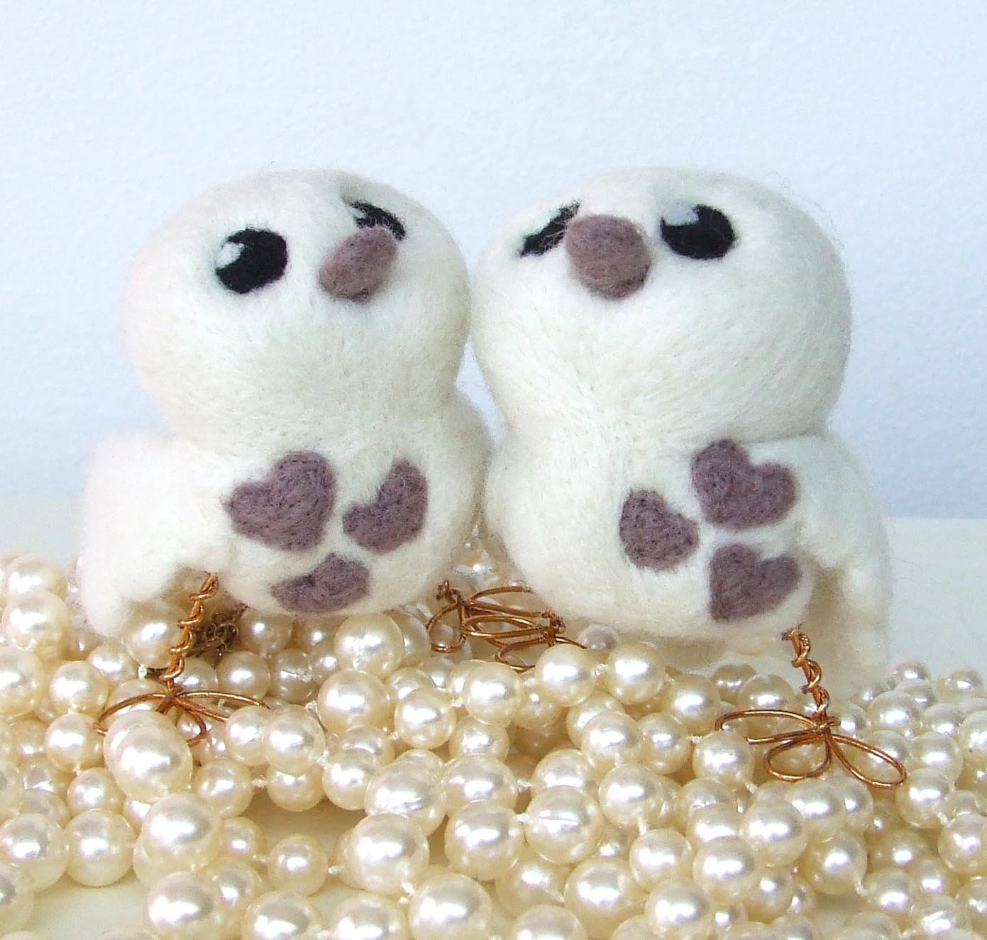 Make Mine Mink Natural White and Mink Love Birds Wedding Cake Topper