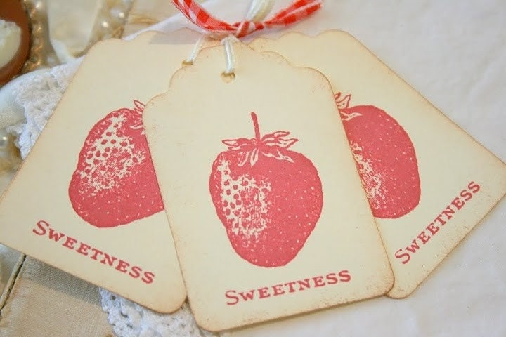 Strawberry Gift Tags - Handmade Vintage Sweetness