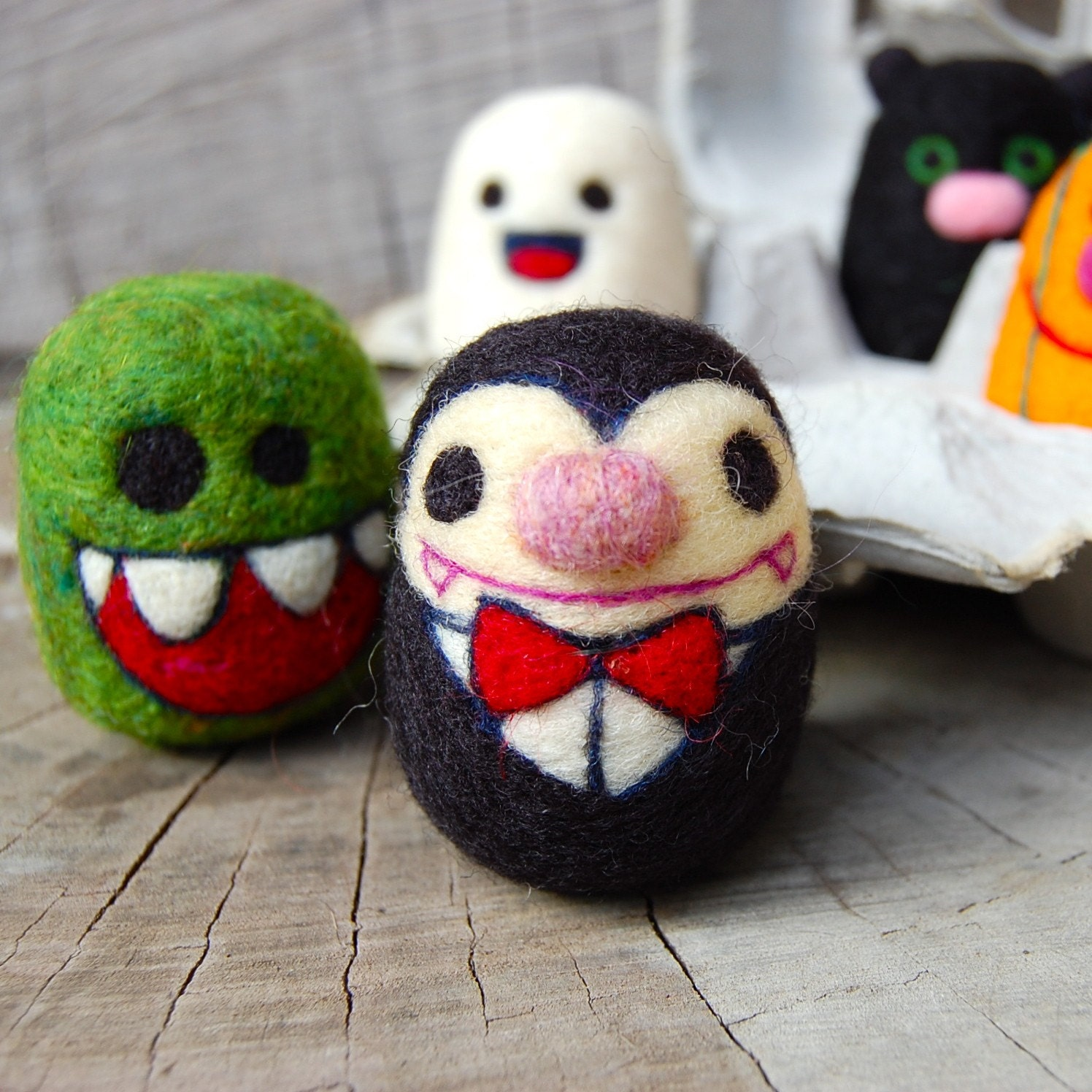 Spooky and Creepy Cute Felted WOOLY Egg Toys SET 1 MADE TO ORDER