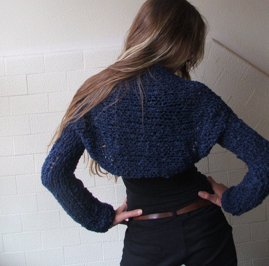 Electric blue long sleeved winter shrug