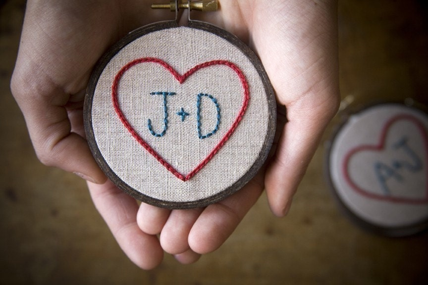 Miniature Custom Heart Sampler - Hand embroidery