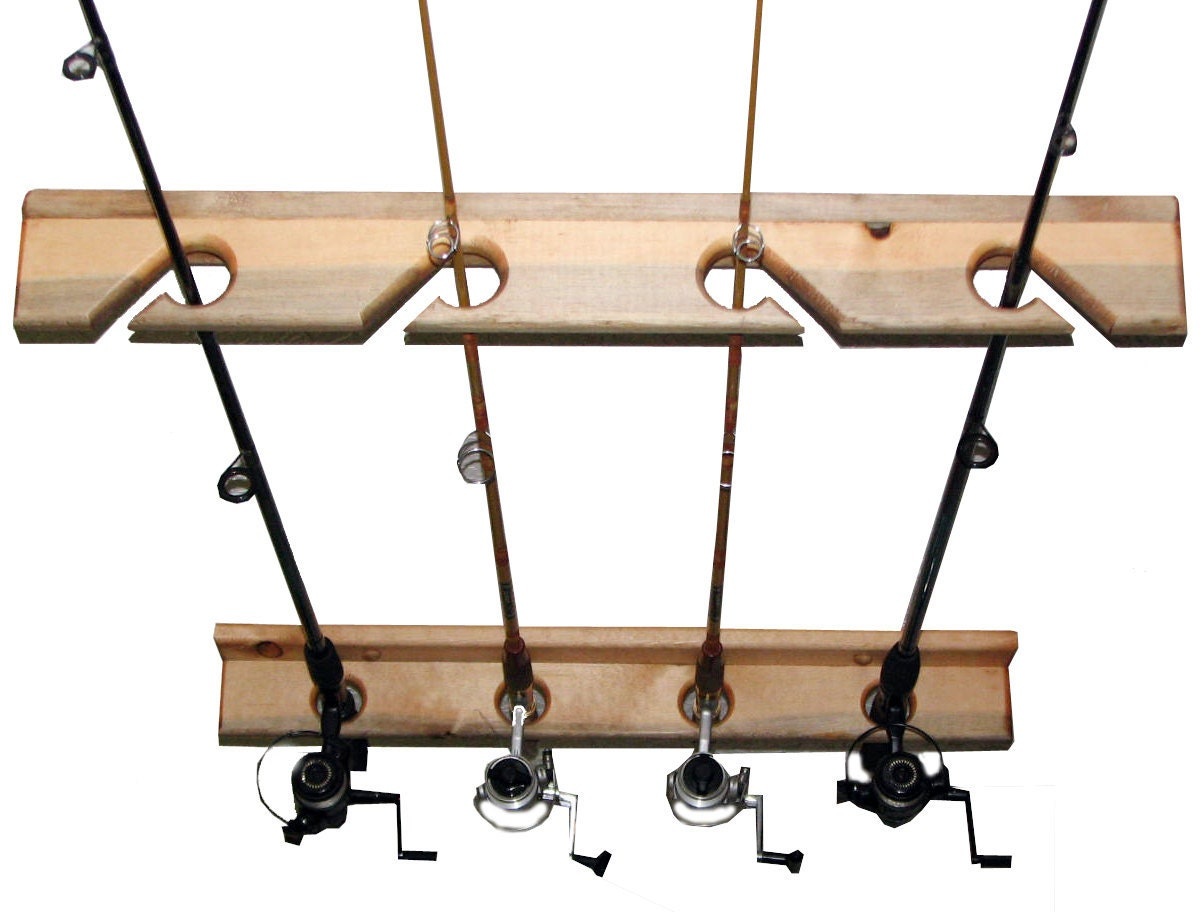 Fishing rod storage rack holds 4 ceiling or vertical by for Fishing rod ceiling rack
