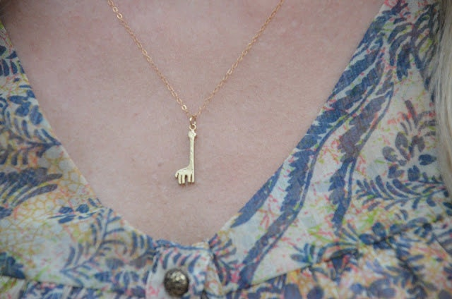 Itty Bitty Giraffe necklace. 14k gold initial chain necklace.