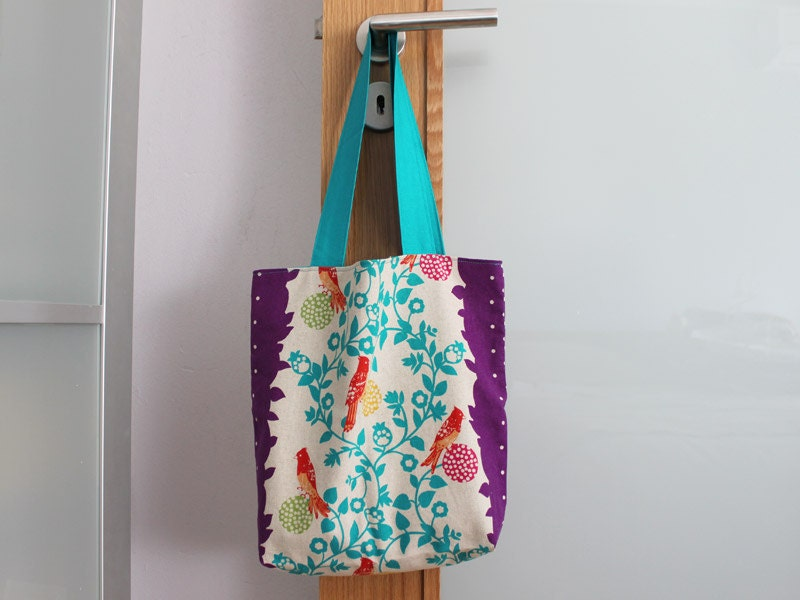 Reversible tote bag in japanese designer floral fabric and teal by MrsPepper
