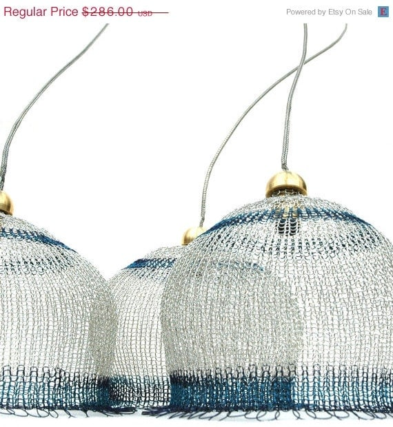 Womans day SALE Crocheted Lampshade in silver and blue -  4 inch diameter - Yoola